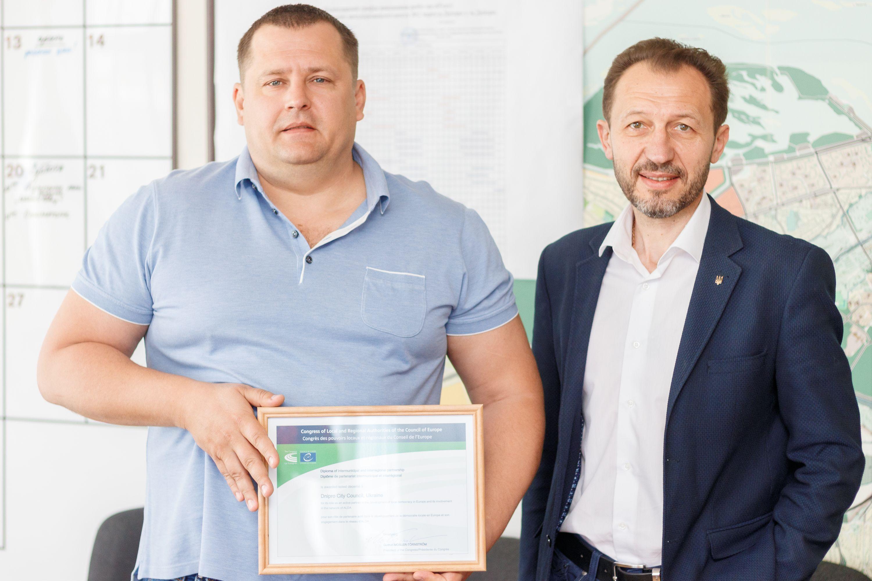 Очільник Дніпра Борис Філатов отримав свідоцтво про членство міста Дніпра від Конгресу місцевих і регіональних влад Ради Європи